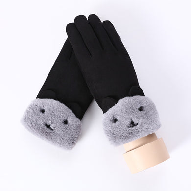 NIUPOZ Lace Warm Cute Bear Double Thick Plush Wrist Touch Screen Driving Gloves