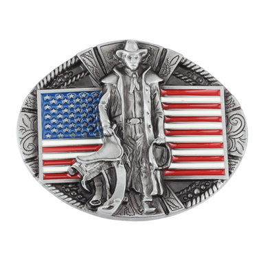 The American Flag and Cowboy Pattern Belt Buckle