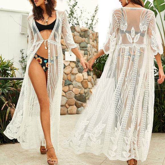 EDOLYNSA Tunics Long Lace Beach Dress Women Swim Cover up Plus size Saida de Praia Robe de Plage Kaftan