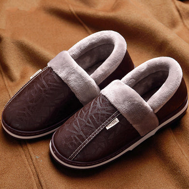 CYFMYD Men PU Leather Slippers Plus Size 48 Sturdy Sole Fur Wear-Resistant