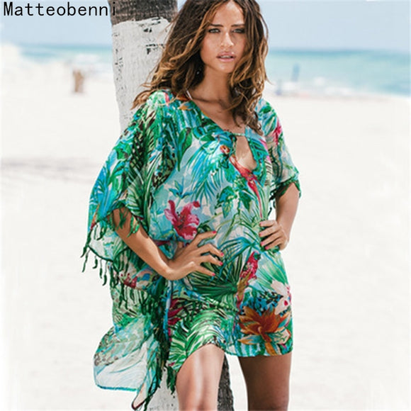 Matteobenni Women Print Pareo Beach Cover Up Chiffon Saida De Praia Tunic Kaftan Dress