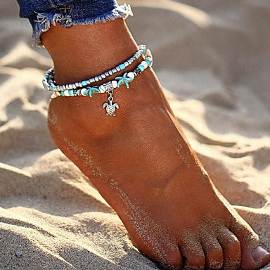 Women's Ankle Bracelet Feet Jewelry Layered Double Bohemian Ethnic Boho Silver Shapes
