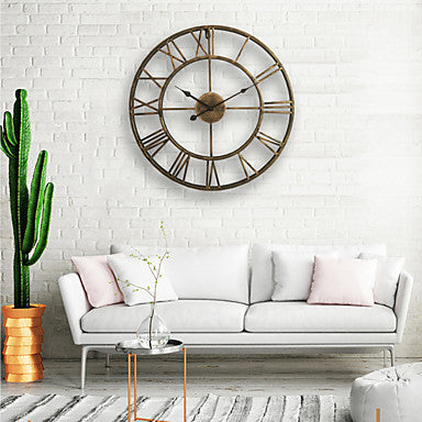 Wall Clock 20'' Round Centurian Classic Metal Wrought Iron Roman Numeral Style