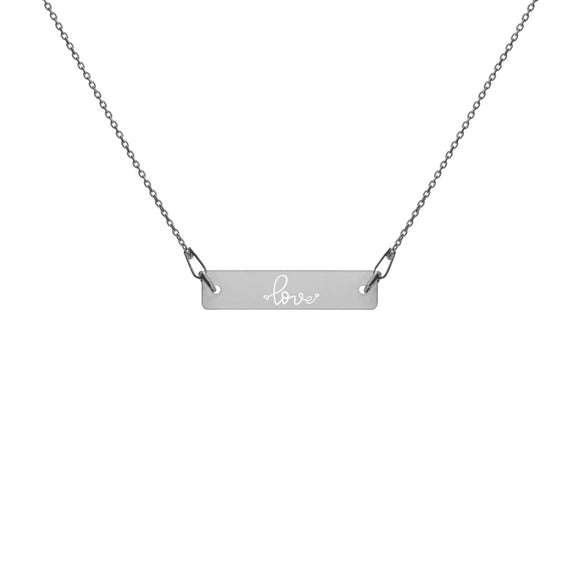 Love Tiny Hearts Engraved Silver Bar Chain Necklace