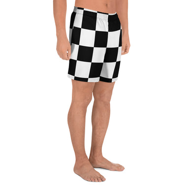 Black White Checker Men's Athletic Long Shorts