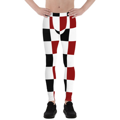Black Red White Checker Men's Leggings
