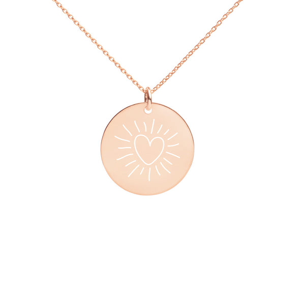 Bright Heart Engraved Silver Disc Necklace