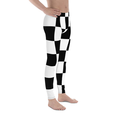 Black White Checker Men's Leggings