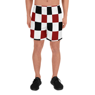 Black Red White Checker Men's Athletic Long Shorts