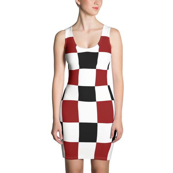 Black Red White Checker Sublimation Cut & Sew Dress