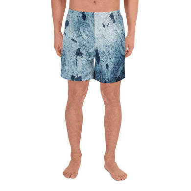 Water Blue Splatter Men's Athletic Long Shorts