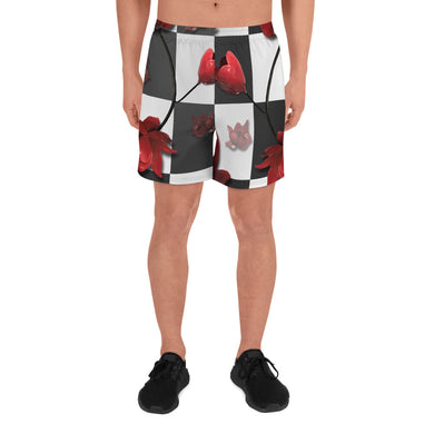 Burnt Crimson Flora Men's Athletic Long Shorts
