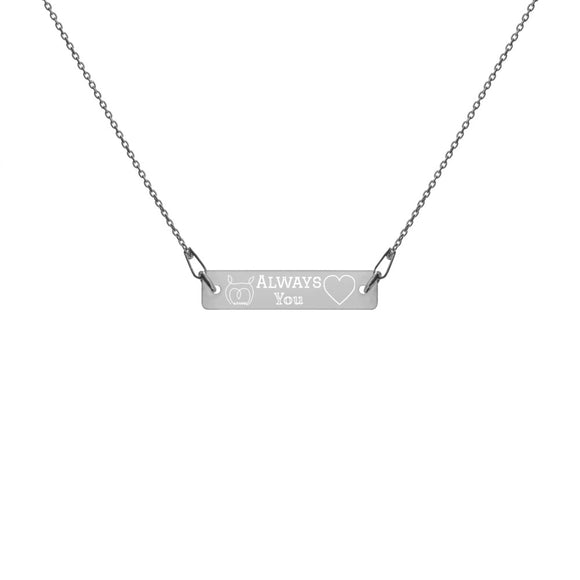 Owl Always Love You Engraved Silver Bar Chain Necklace