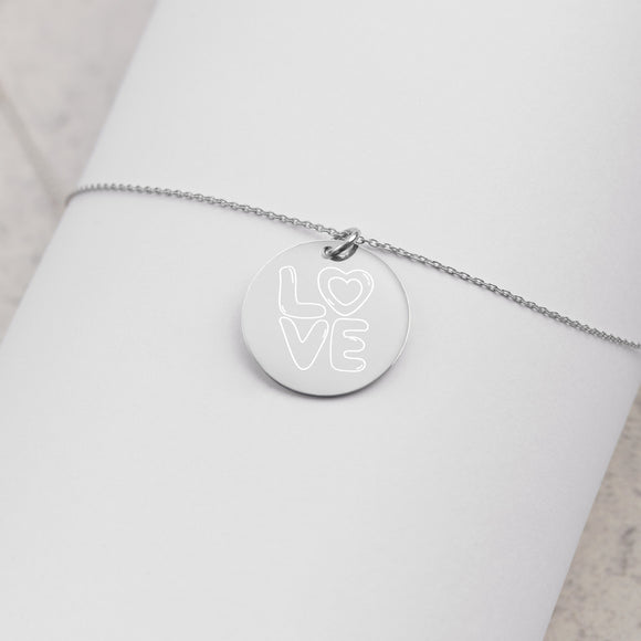 Love Outlined Engraved Silver Disc Necklace