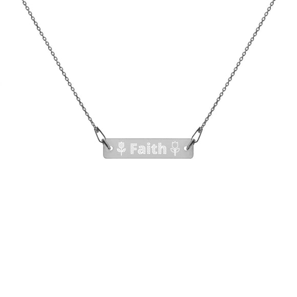 Faith Flowers Engraved Silver Bar Chain Necklace