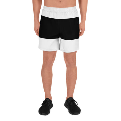 Black White Stripes Men's Athletic Long Shorts