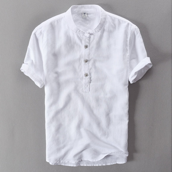 SXSYHD Linen Casual Men's Short Sleeved Shirts Breathes Cool Hawaiian European High Quality