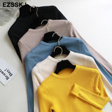 Ezsskj Knitted Women o-neck Sweater Pullovers Basic Slim Fit