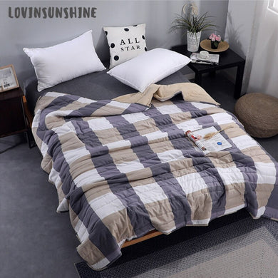 LOVINSUNSHINE Quilt Bedspread Soft Cotton Throw Blanket Simple Stripe Plaid