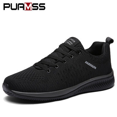 PUAMSS Mens Mesh Shoes Lac-up Lightweight Comfortable Breathable Walking Sneakers