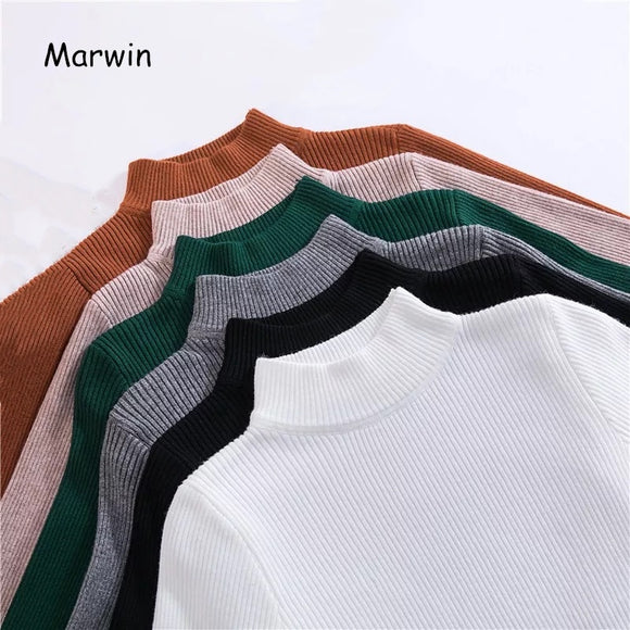 Marwin & Friend Women's Turtleneck Pullovers Sweaters Primer Shirt Long Sleeve