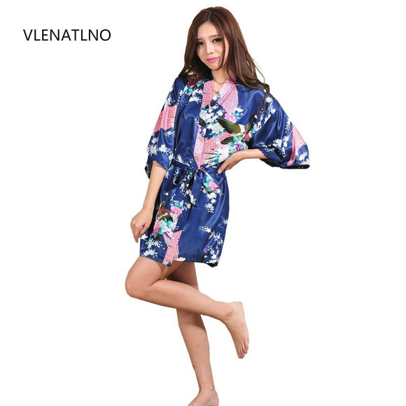 VLENATLNO Silk Satin Wedding Bride Bridesmaid Floral Short Kimono Night Bath Gown Robe