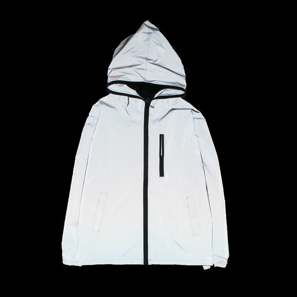 Neverfunction 3m Full Reflective Jacket Men/Women Harajuku Windbreaker Hooded Hip-Hop Streetwear
