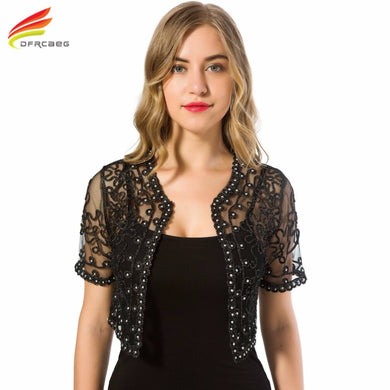 DFRCAEG Basic Coat Women Perspective Shawl Fashion Hollow Out Lace Boleros Short Sleeve Jackets