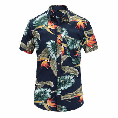 JeeToo Mens Short Sleeve Beach Hawaiian Shirts Cotton Casual Floral