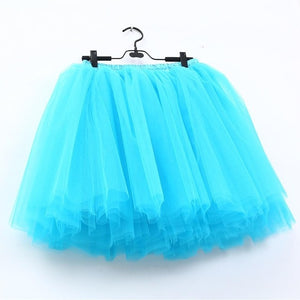 7 Layers Midi Tulle Fashion Tutu Skirts Women Ball Gown Petticoat