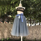 6Layers 65cm Fashion Tulle Pleated Tutu Lolita Petticoat Vintage Midi Skirt