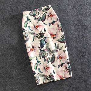 N.XINZHE Casual Print Flowers Pencil Stretchy Skirts Plus Size 22 Colors Faldas Mujer