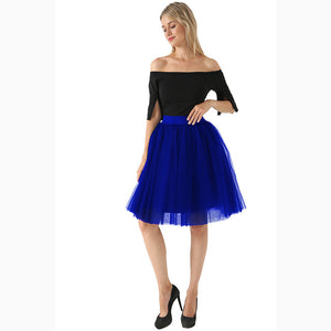 5 Layer Fashion Women Tulle Skirt Tutu Weddings Overskirt Petticoat Lolita Saia