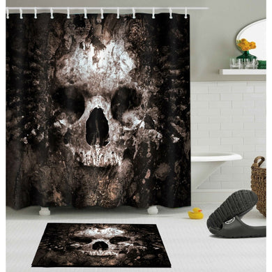 LB Scary Rusty Rotten Skull Halloween Shower Curtain And Bath Mat Set Waterproof