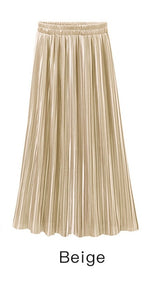 Trytree Pleated Women's Vintage High Waist Solid Long Skirts