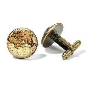 SONGDA Vintage Earth World Map Cufflinks Globe Planet Art Photo Crystal Glass Dome