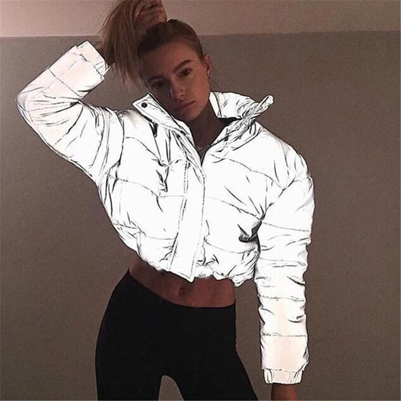 VISBODA Women Oversized Cotton Cropped Jacket Fashion Winter Thick Pullover Reflection