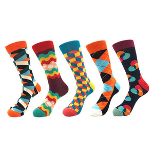 CURRADA 5pairs Men's Combed Cotton Colorful Funny Socks Long Compression