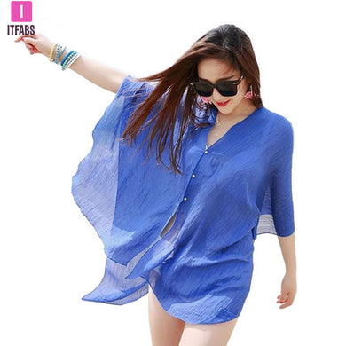 ITFABS Summer Women Cover Up Kaftan Chiffon Swim Beach Wear Bikinis Sundress