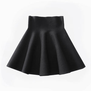 QEENRAAN Women Knitting Woolen Midi Skirt High Waist Casual Pleated Elastic Flared