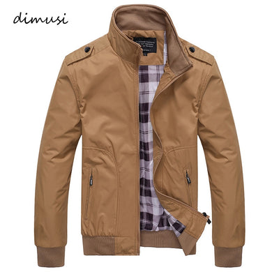 DIMUSI Casual Coats Solid Color Mens Sportswear Stand Collar Slim Bomber Jackets