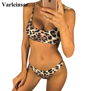 Varleinsar Leopard Bikini Women Swimwear Two-pieces Brazilian Bather Bathing