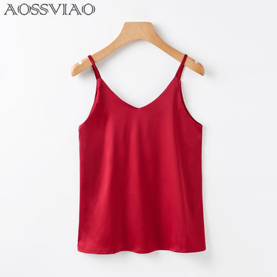 AOSSVIAO Women Silk Crop Camisole Style Sleeveless Vest Slim Halter Tank Top