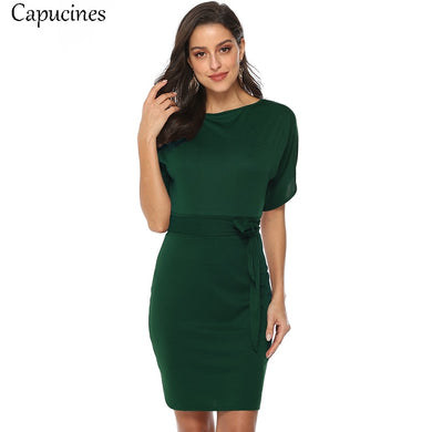 Capucines Casual Style Solid Sashes O-Neck Short Knitted Dress Split Batwing Sleeve