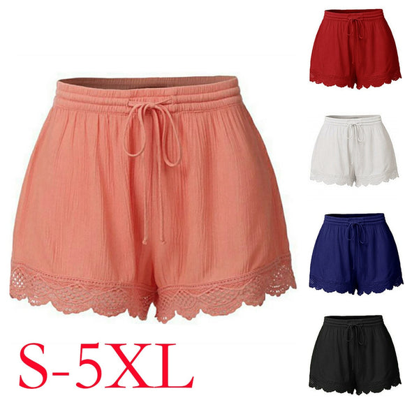 Womail Lace Rope Tie Shorts Skinny Sport Trousers Women's Casual