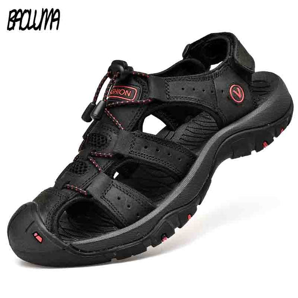 BAOLUMA Men Soft Sandals Comfortable Shoes Leather Big Size Roman