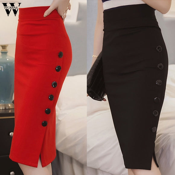 Womail Casual Pencil Skirt Ladies High Waisted Button Office