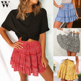 Womail Women Bohe High Waist Ruffled Floral Print Beach Short Skirt