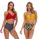 RUUHEE Print Bikini Mujer Plus Size Swimwear Women Halter High Waist Push Up Maillot De Bain Femme