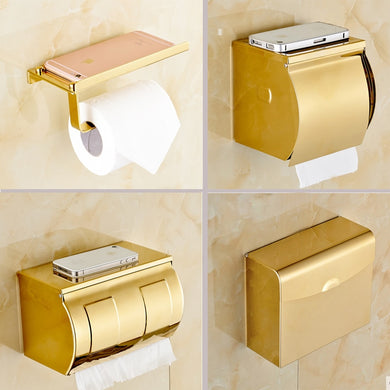 Tuqiu Stainless Steel Bathroom Phone Shelf Gold Towel Rack Toilet Paper Holder Tissue Boxes